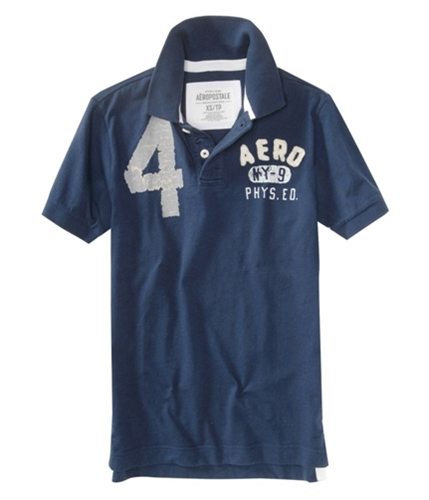 Aeropostale Mens Solid Rugby Polo Shirt navynightblue XS