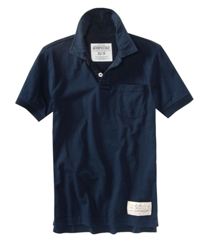 Aeropostale Mens Solid Pocket Rugby Polo Shirt bluedeepna XS