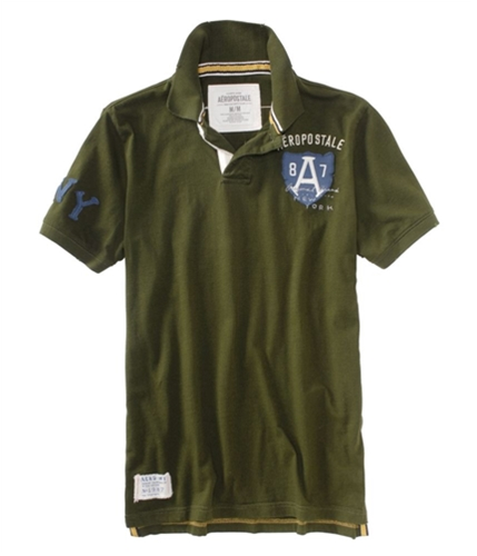 Aeropostale Mens Embroidered A87 Crest Rugby Polo Shirt ivyleaguegreen XS