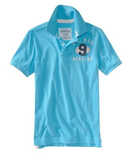 Aeropostale Mens #9 Rugby Polo Shirt turquoiseaquablue XS