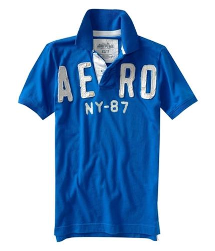 Aeropostale Mens Solid Aero Ny 87 Rugby Polo Shirt activeblue XS