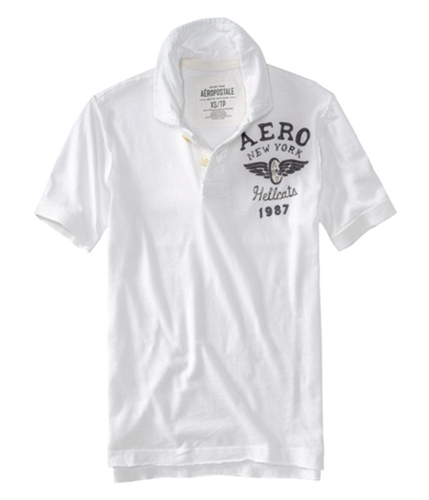 Aeropostale Mens Solid Hellcats Rugby Polo Shirt bleachwhite XS