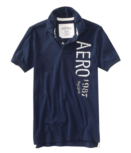 Aeropostale Mens Casual Rugby Polo Shirt navynightblue XS