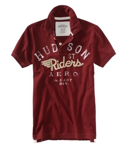 Aeropostale Mens Riders Rugby Polo Shirt brickburgundy XS