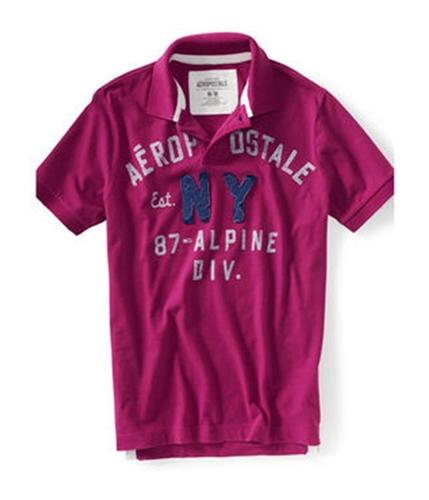 Aeropostale Mens 87 Alpine Div. Rugby Polo Shirt magentaspurple XS