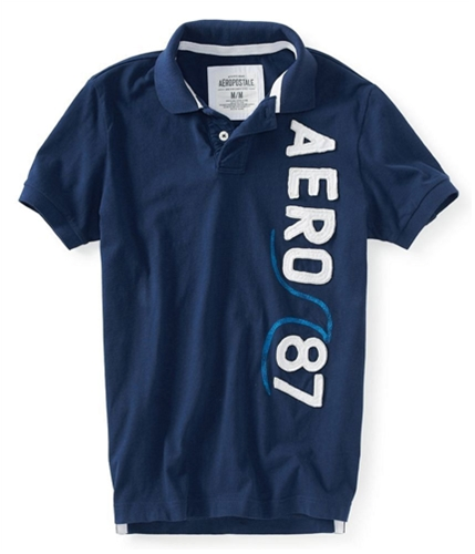Aeropostale Mens Aero 87 Rugby Polo Shirt navyni XS