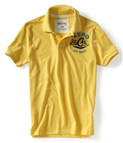 Aeropostale Mens Aero So Cal Surf Riders Rugby Polo Shirt lemonp M