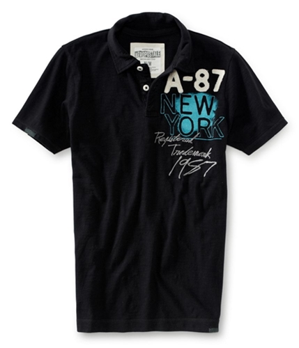 Aeropostale Mens Embroidered Vertical Aero Rugby Polo Shirt 001 XS