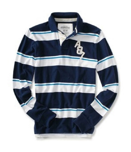 Aeropostale Mens A87 Stripe Casual Rugby Polo Shirt navyni XS