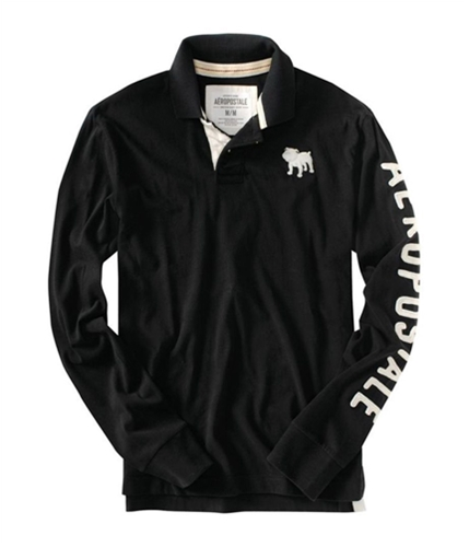 Aeropostale Mens Embroidered Bull Dog Ls Rugby Polo Shirt black S