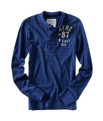 Aeropostale Mens Stripe Henley Graphic T-Shirt lapisblue S