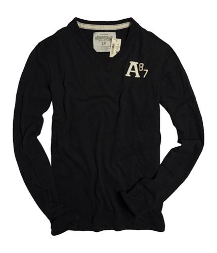 Aeropostale Mens V-neck A87 Long Sleeve Graphic T-Shirt black XS