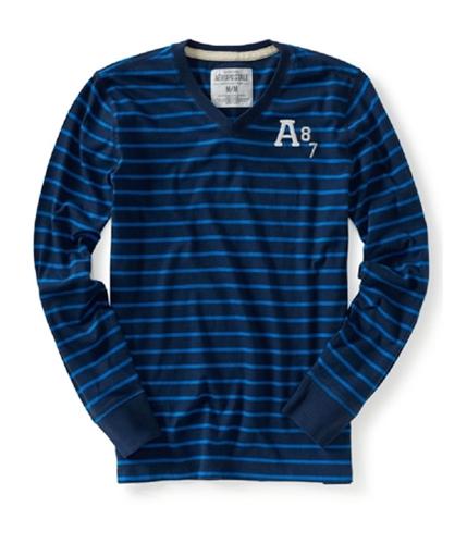 Aeropostale Mens A 87 Long Sleeve Stripe Embellished Graphic T-Shirt navyni L