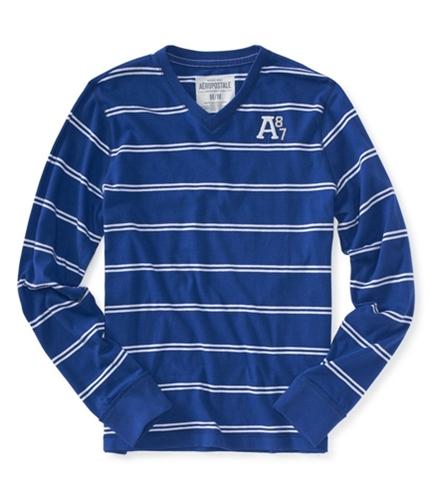 Aeropostale Mens V-neck Stripe Graphic T-Shirt blueblprpl XS