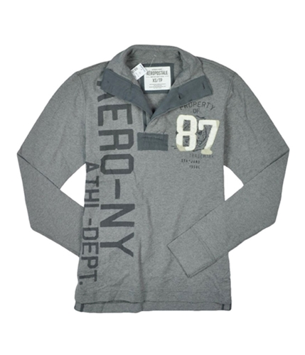 Aeropostale Mens Solid Graphic Henley Shirt mediumgray XS