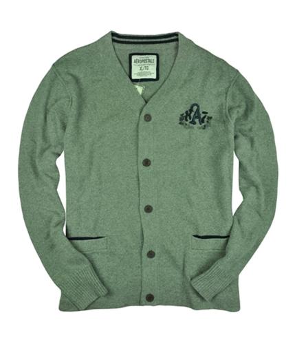 Aeropostale Mens Embroidered Cardigan Sweater mediumgray XL