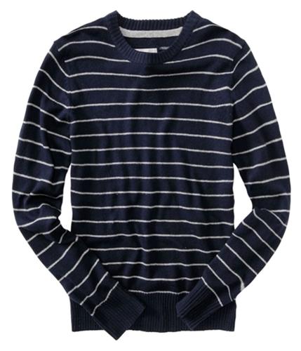 Aeropostale Mens Stripe Crew Knit Sweater bluedeepna S
