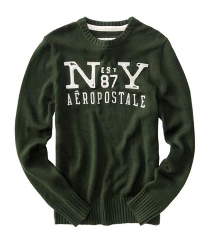 Aeropostale Mens Crew Est 87 Ny Knit Sweater deepgreen M