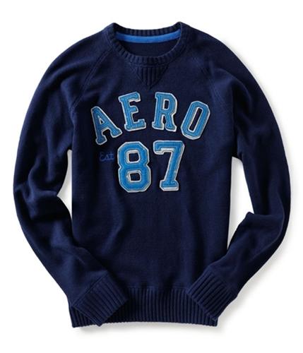Aeropostale Mens Pull Over Aero 87 Ted Knit Sweater navynightblue S