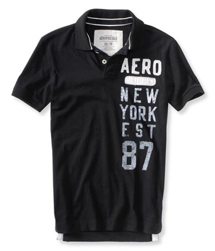 Aeropostale Mens Aero New York Est 87 Rugby Polo Shirt black XS