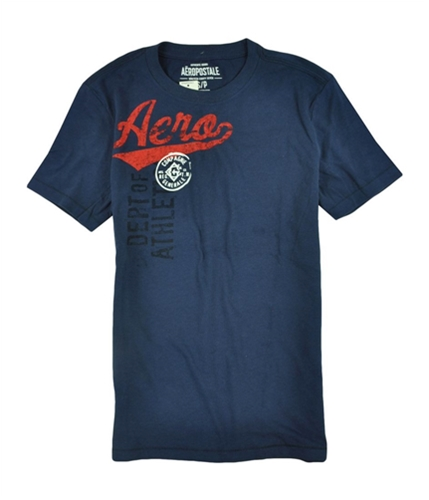 Aeropostale Mens Compagnie Puff Paint Graphic T-Shirt blue413 XS