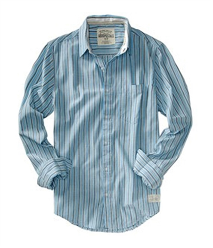 Aeropostale Mens Stripe Pocket Button Up Shirt brookblue M
