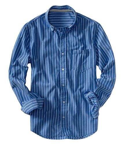 Aeropostale Mens Stripe Long Sleeve Button Up Shirt blue S