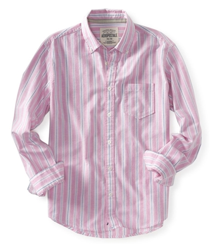 Aeropostale Mens Embroidered A87 Stripe Button Up Shirt 624 S
