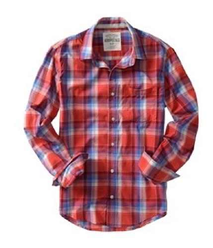 Aeropostale Mens Plaid Casual Button Up Shirt citrusorange S