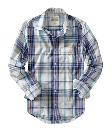 Aeropostale Mens Down Plaid Button Up Shirt floraloffwhite S
