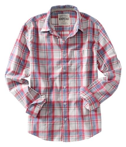 Aeropostale Mens Plaid Pocket Button Up Shirt opalwhitebluered S