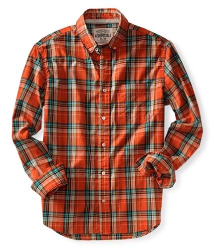 Aeropostale Mens Long Sleeve Plaid Button Up Shirt orange XL