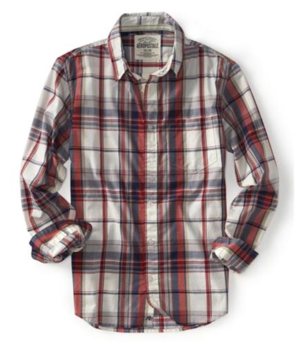 Aeropostale Mens Long Sleeve Plaid Button Up Shirt bleach S