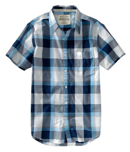 Aeropostale Mens Casual Down Plaid Sleeve Button Up Shirt lunablue S