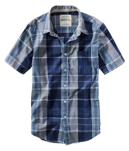 Aeropostale Mens Plaid Stripe Down Button Up Shirt deepnablue S