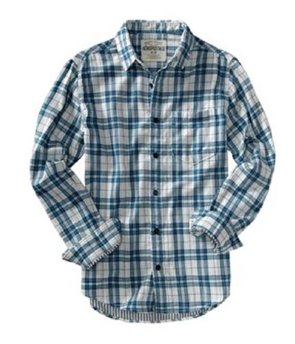 Aeropostale Mens Lined Plaid Button Up Shirt floraloffwhite L