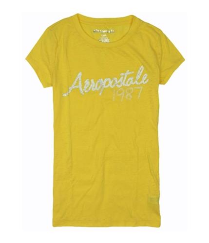 Aeropostale Womens Rhinestone 1987 Graphic T-Shirt sunshineyellow L