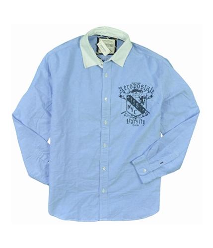 Aeropostale Mens 1987 Nyc Casual Down Button Up Shirt bluedu S