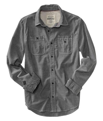 Aeropostale Mens Stitched Down Pocket Button Up Shirt chambra S