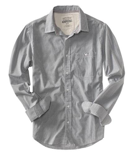 Aeropostale Mens Checkered Down Button Up Shirt bleachwhite S