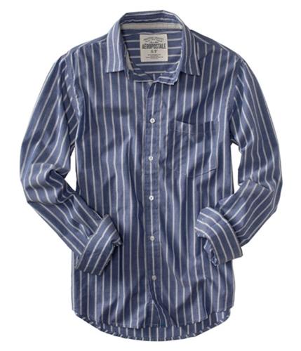 Aeropostale Mens Stripe Pocket Button Up Shirt blue S
