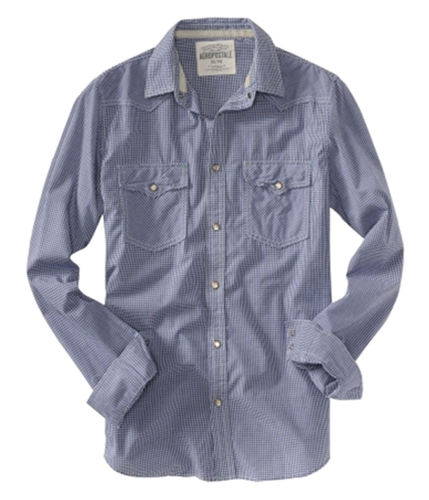 Aeropostale Mens Checked Snap Button Up Shirt blue S