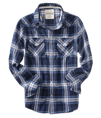 Aeropostale Mens Plaid Snap Button Up Shirt deepnablue S
