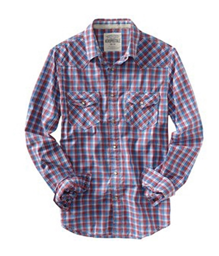 Aeropostale Mens Plaid Snap Button Up Shirt red S