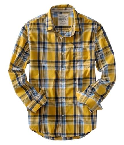 Aeropostale Mens Plaid Pocket Button Up Shirt yellow S