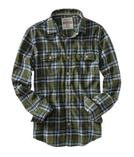 Aeropostale Mens Plaid Pocket Button Up Shirt olivegreen S