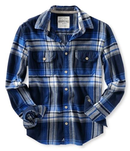 Aeropostale Mens Down Pocket Long Sleeve Flannel Button Up Shirt deepnablue S