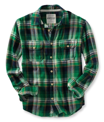 Aeropostale Mens Down Pocket Long Sleeve Flannel Button Up Shirt green S
