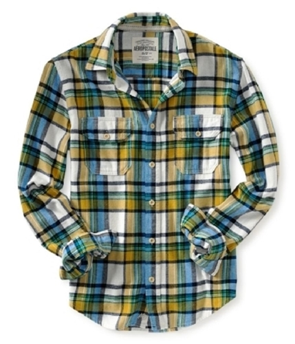 Aeropostale Mens Long Sleeve Flannel Button Up Shirt pearlyellow S