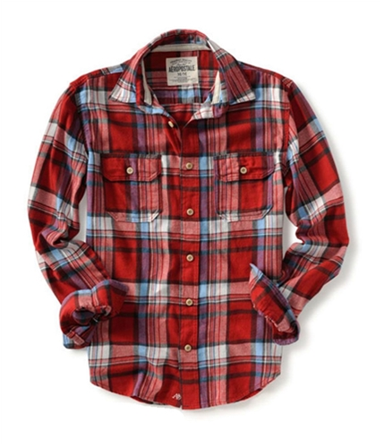 Aeropostale Mens Down Pocket Long Sleeve Flannel Button Up Shirt red S